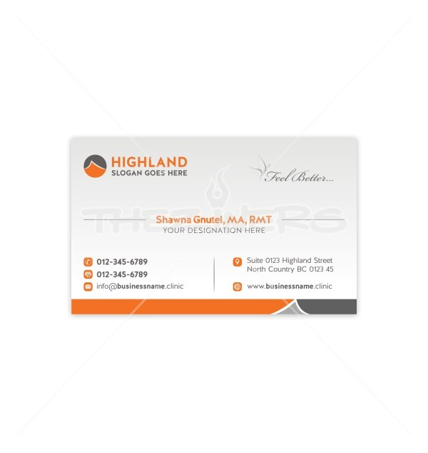 feel better with orange background double sided business card template. Black Bedroom Furniture Sets. Home Design Ideas