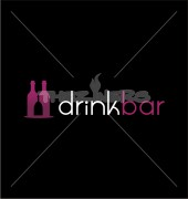Bottles with Glass Drink Bar Logo Template