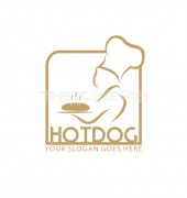 Hot Dogs Food Restaurant Logo Template