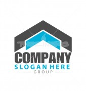 Roofing Company Abstract Logo Outline