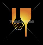 Gold Wine Food Cafe Shop Logo Template