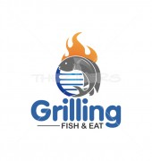 Grilling Fish Delicious Food Shop Logo Template