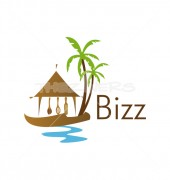 Beach Restaurant Healthy Drinks Logo Template