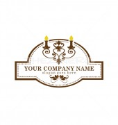 candle light restaurant Elite Restaurant Logo Template