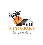 Coconut Tree House Logo Template