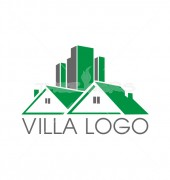 Green Villa Abstract Logo Outline