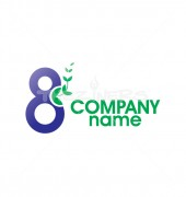 Character 8 Eight with Leaf or Leaves Logo Template