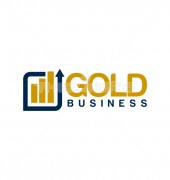 Gold Bar Graph Rectangle Logo Template