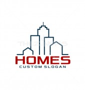 Custom Homes Abstract Real Estate Logo Outline