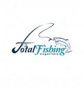 Fishing Rod Animal Logo Design Template