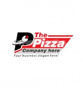 Hot Pizza Delicious Food Shop Logo Template
