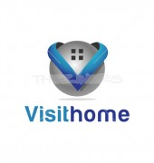 Home V Heart Abstract Real Estate Logo Outline