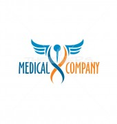 DNA Needle Wings Premade Medical Solutions Logo Design
