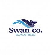 Swim Swan at River Creative Bird Vector Logo Template