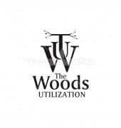 W Letter The Woods Utilization Letter Elite Logo Template