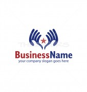 Hands Holding Star Abstract Product Logo Template