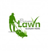 Lawn Care Elegant Gardening Logo Design Vector