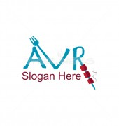 AVR Letter Eating Fork Food Restaurant Logo Template