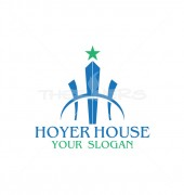 H Letter Higher Building Abstract Child Care Logo Template