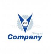 V Letter Gear Logo Template