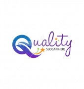 Q Letter Quality Star Alphabets Beech Logo Template
