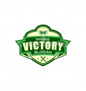 Victory Cafe Bar and Bear Food Logo Template
